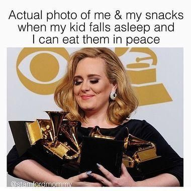 actual photo of me and my snacks when my kid falls asleep and i can eat in peace! (photo of Adele holding Grammy's like a mom holding her snacks from her toddler!) - toddler meme