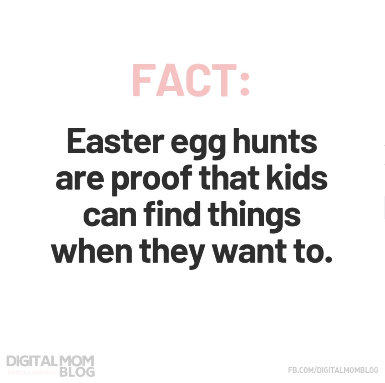 FACT: Easter egg hunts are proof that kids can find things when they want to. - Funny Easter Memes