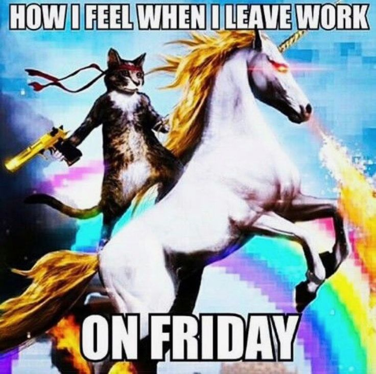 How i feel when I leave work on friday - friday work memes - unicorn