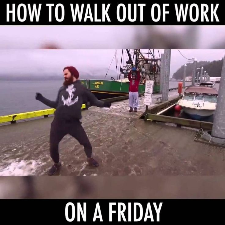 How to walk out of work on a Friday – man dancing on a boat - friday work memes