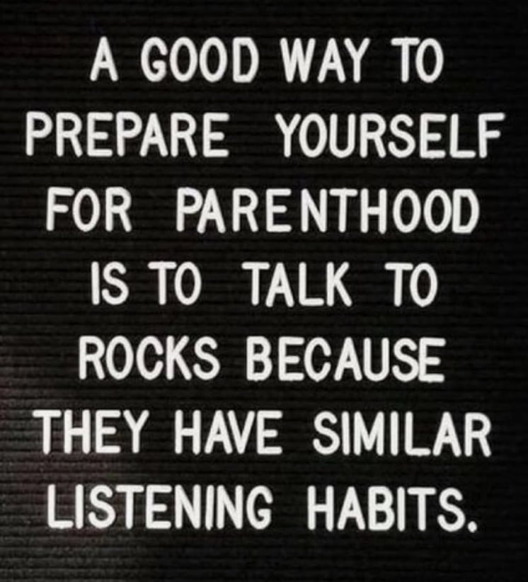 A good way to prepare yourself for parenthood is to talk to rocks because they have similar listening habits