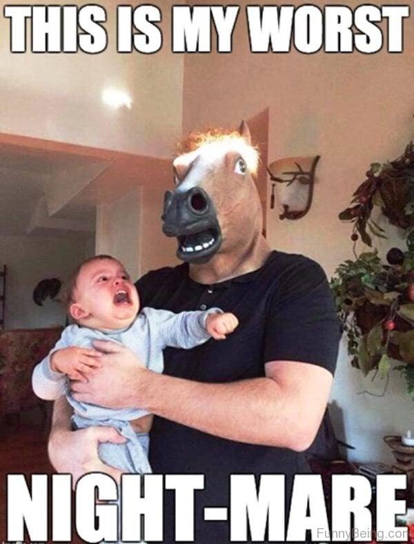 funny dad photos horse mask