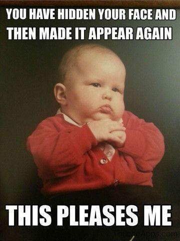 funny baby meme peekaboo