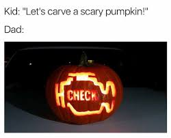 scary pumpkin check engine light