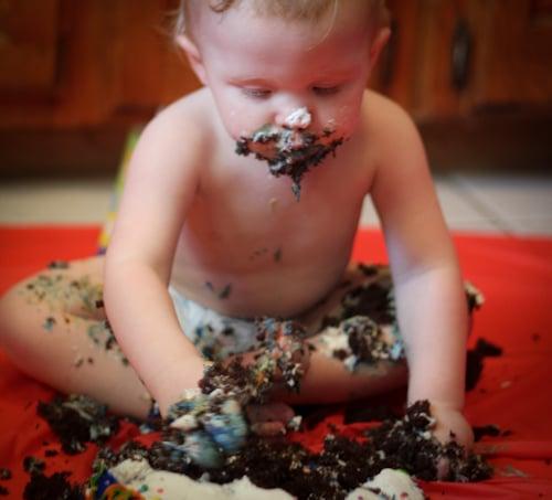 baby cake smashed