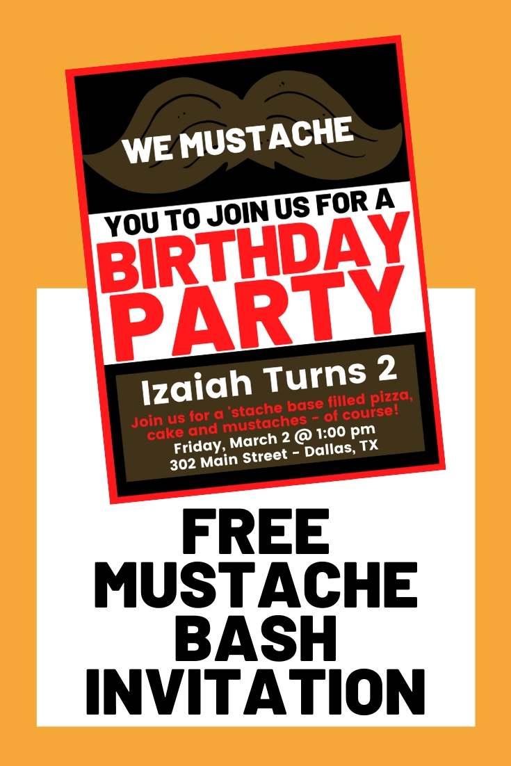 free mustache invitation