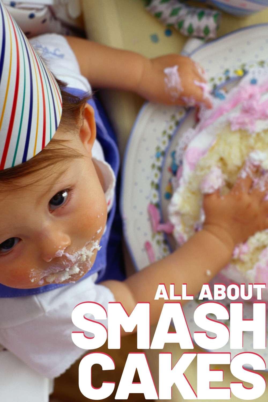 baby eating smash cake messy