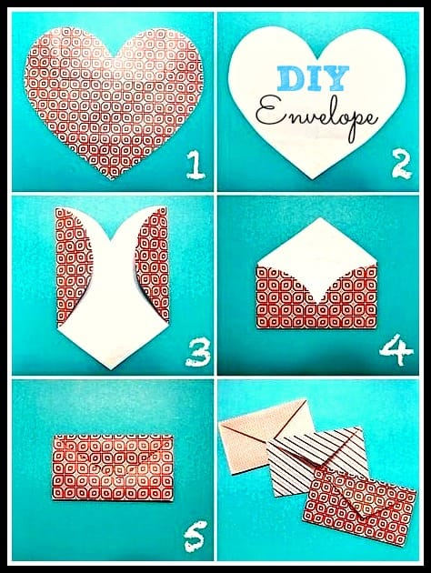 heart envelope template valentines day card for kids