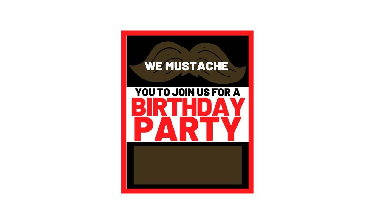 mustache birthday invite