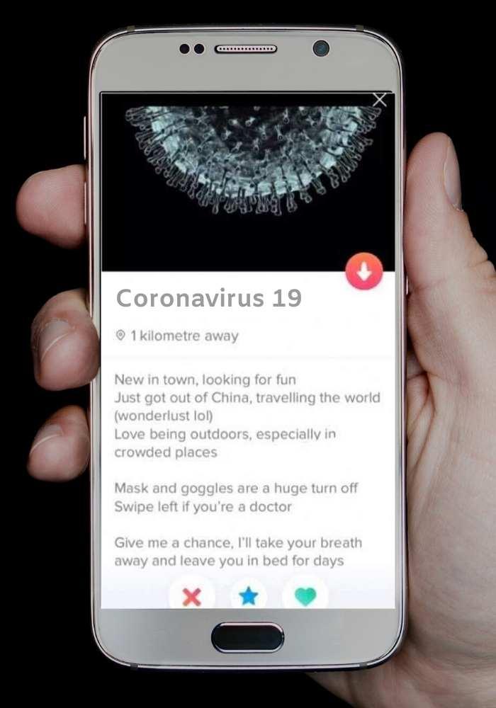 coronavirus meme about tinder