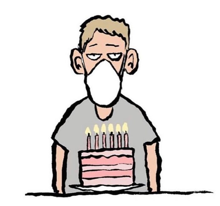 quarantine birthday meme with facemask and cake