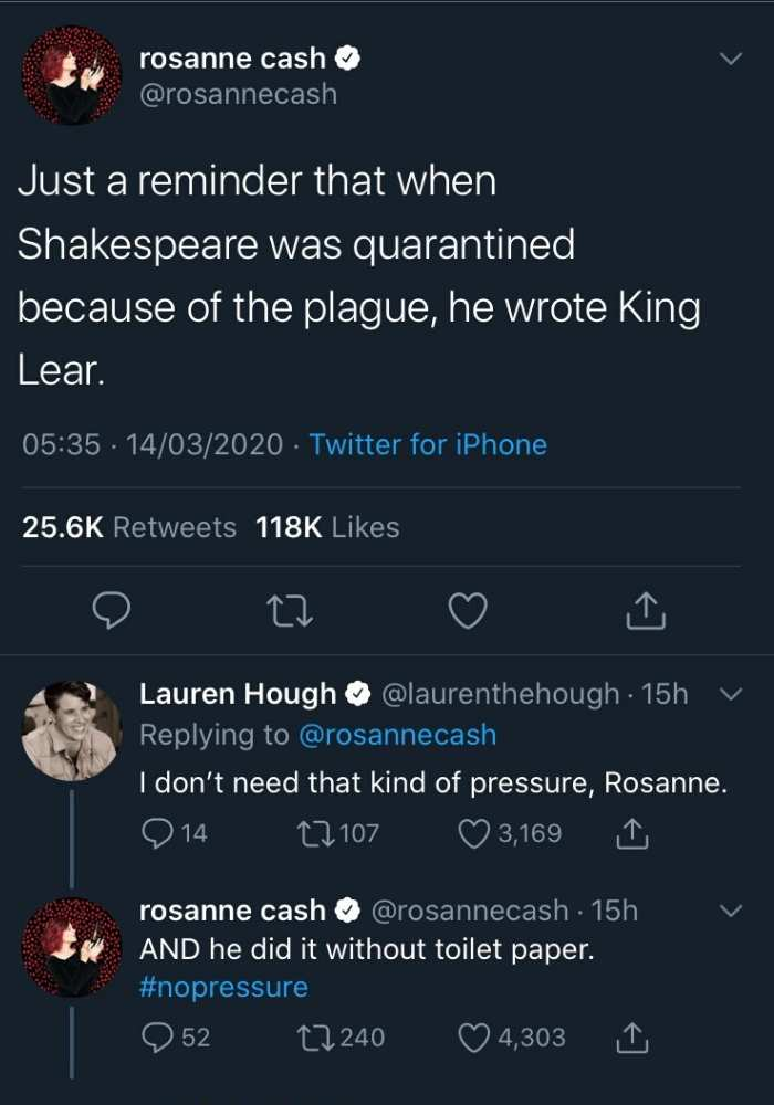 Just a reminder than when Shakspeare was quarantined because of the plague he wrong king lear -  Shakespeare Quarantine Meme