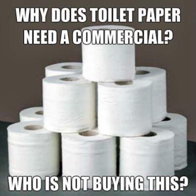 toilet paper commercial meme