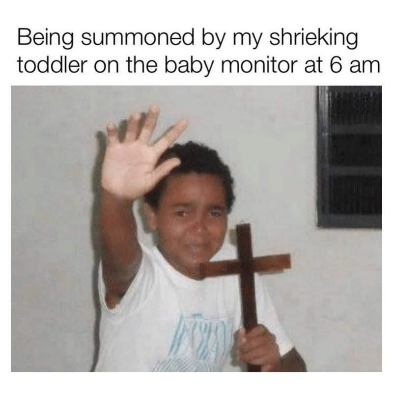 Toddler waking up meme