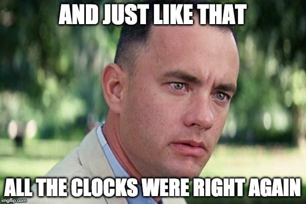 changing clocks meme daylight savings