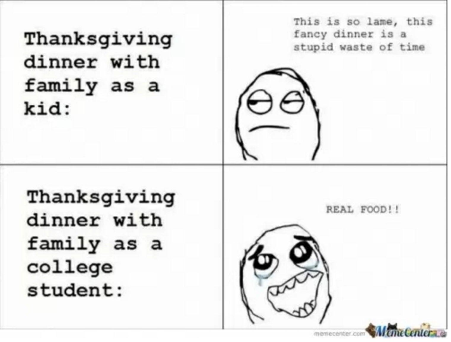 college family thanksgiving meme