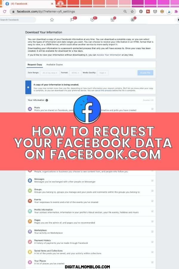 Download Facebook Data on Facebook.com