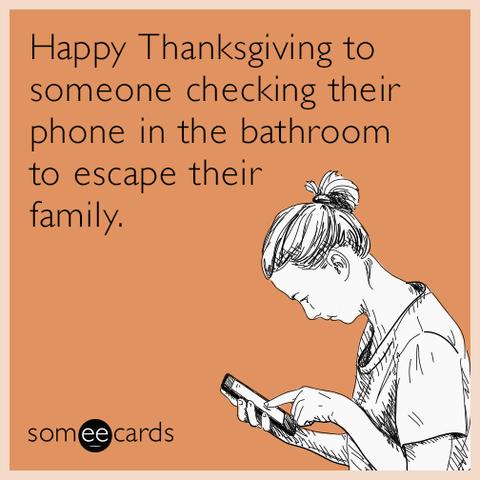 go to the bathroom thanksgiving meme