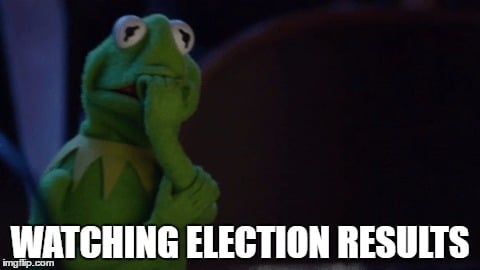 Scared Election Results Kermit Meme