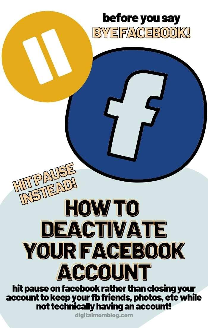 pause account deactivate facebook