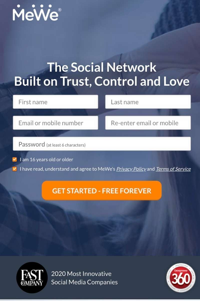 MeWe Social Network Signup