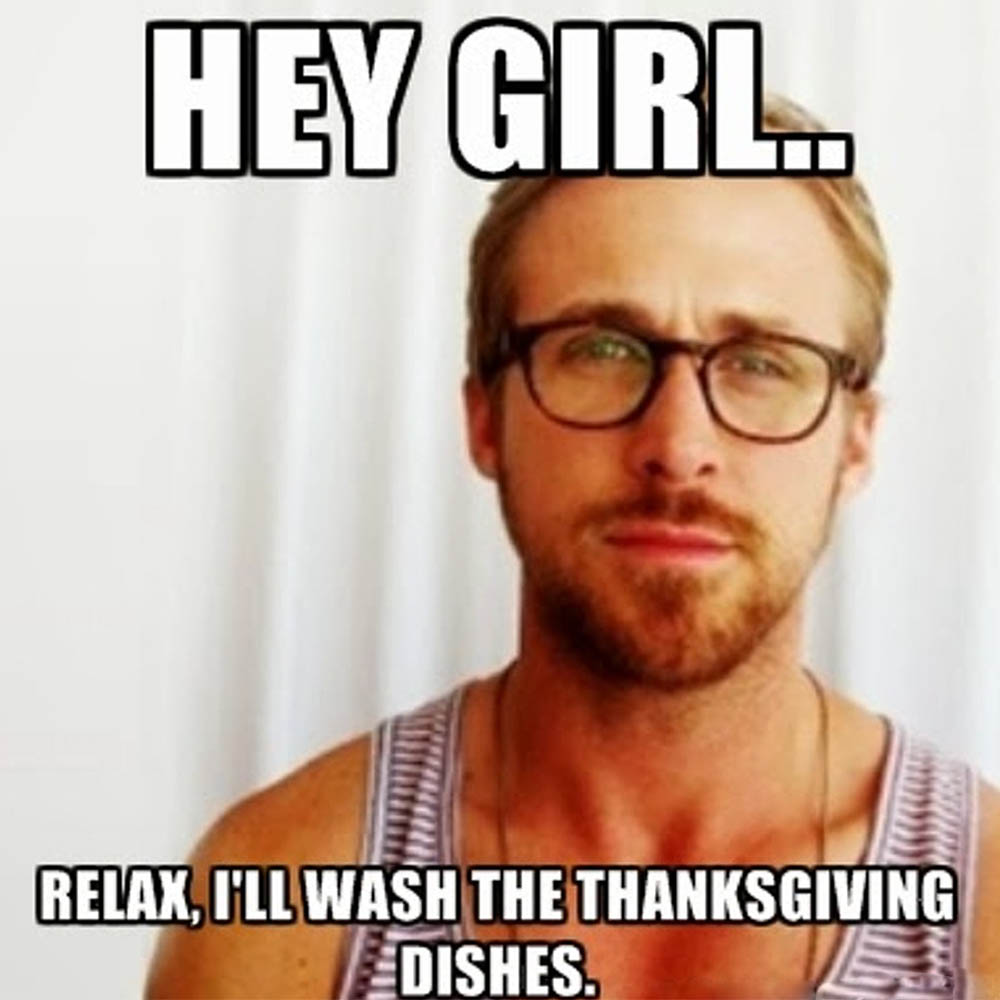 Thanksgiving Meme about Washing Dishes with Ryan Gossling