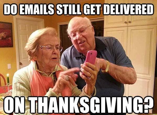 thanksgiving grandparents technology meme