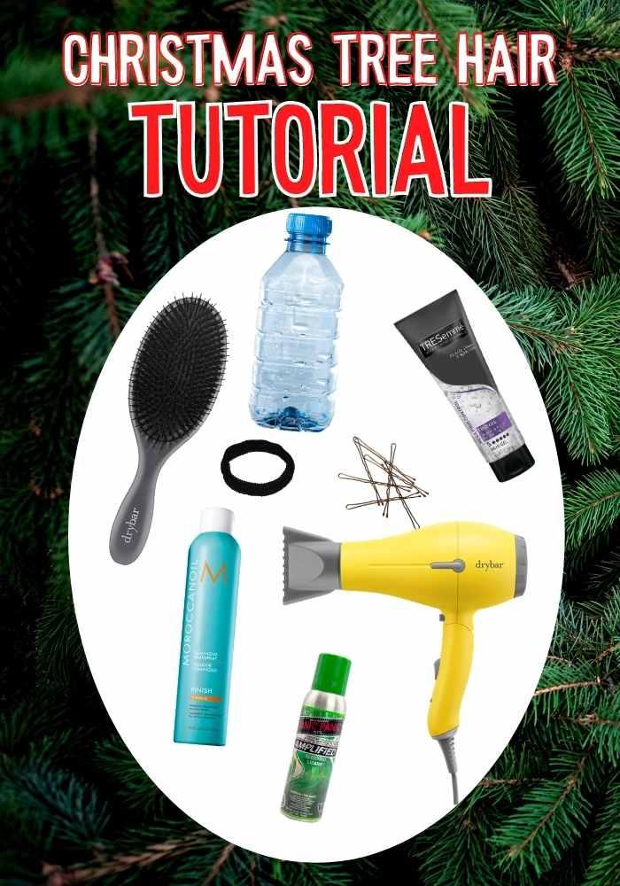 christmas tree hair tutorial supplies