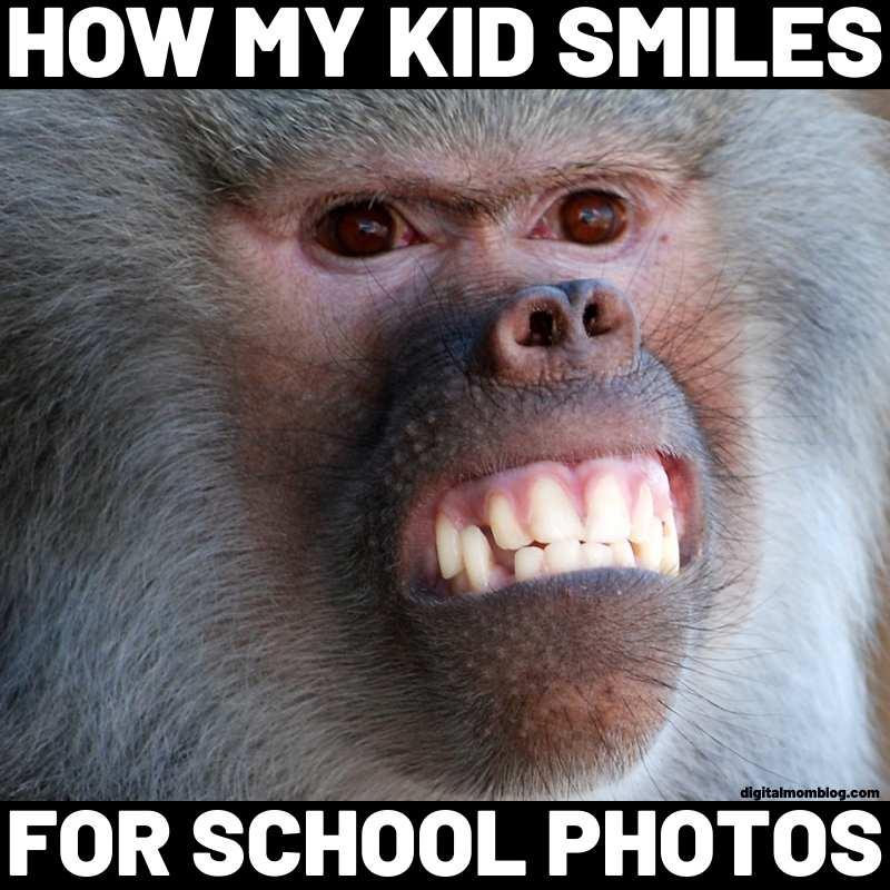 how my kid smiles meme monkey