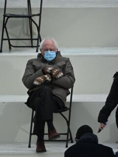 bernie sanders sitting with mittens
