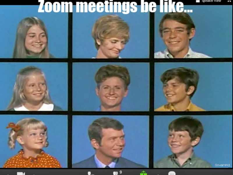 brady bunch zoom meme