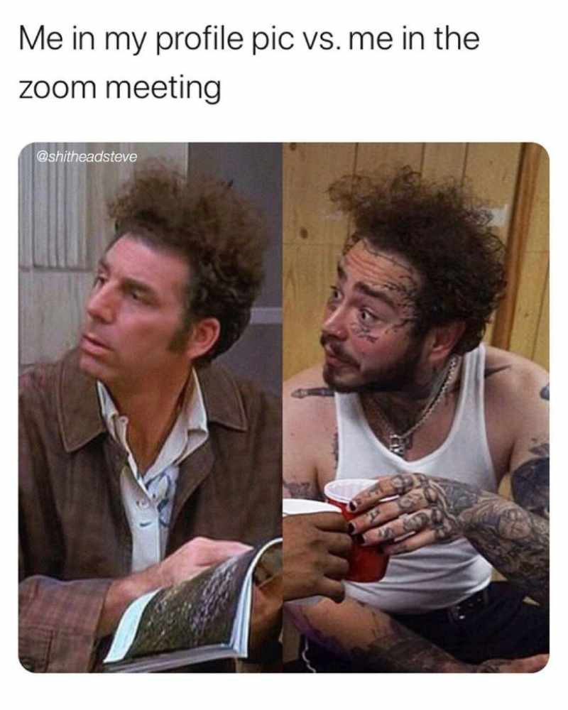 profile pic vs reality zoom meeting meme