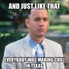 texas chili meme about winter
