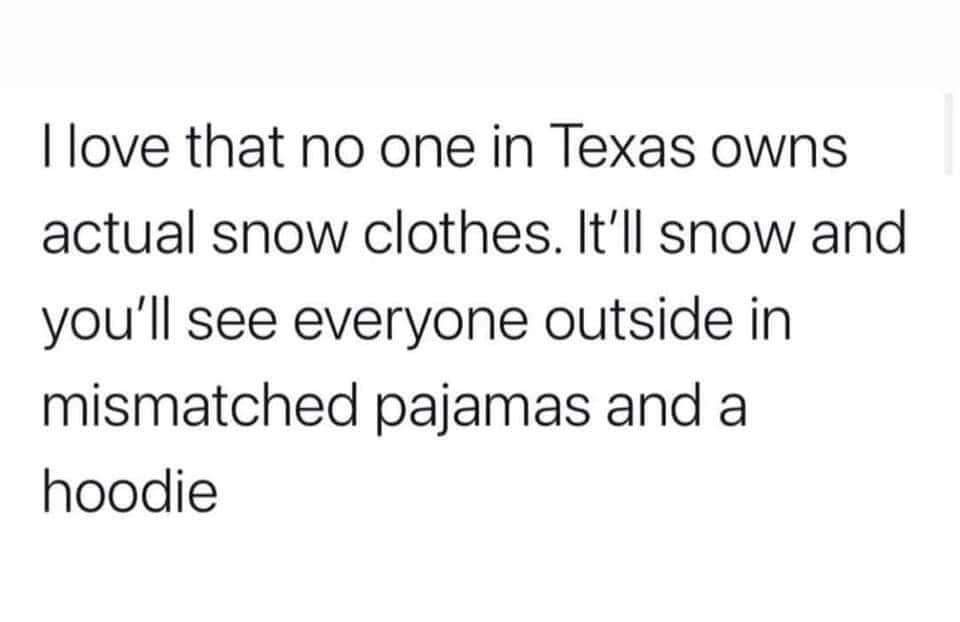 texas no snow clothes meme