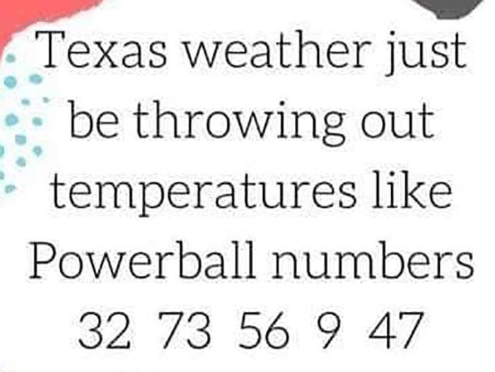 texas weather powerball numbers meme